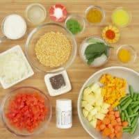 Sambar Recipe (Kerala) Ingredients gathered.