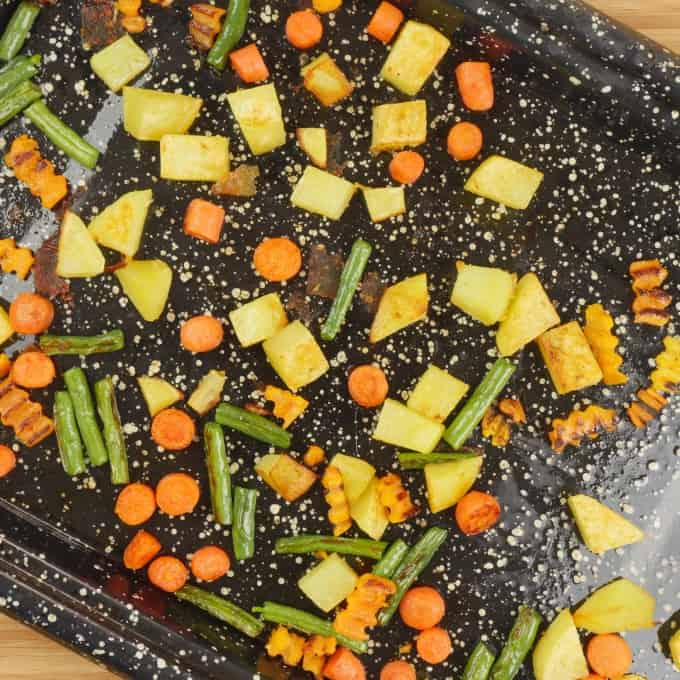 Sambar Recipe (Kerala) Vegetables roasted in the oven.