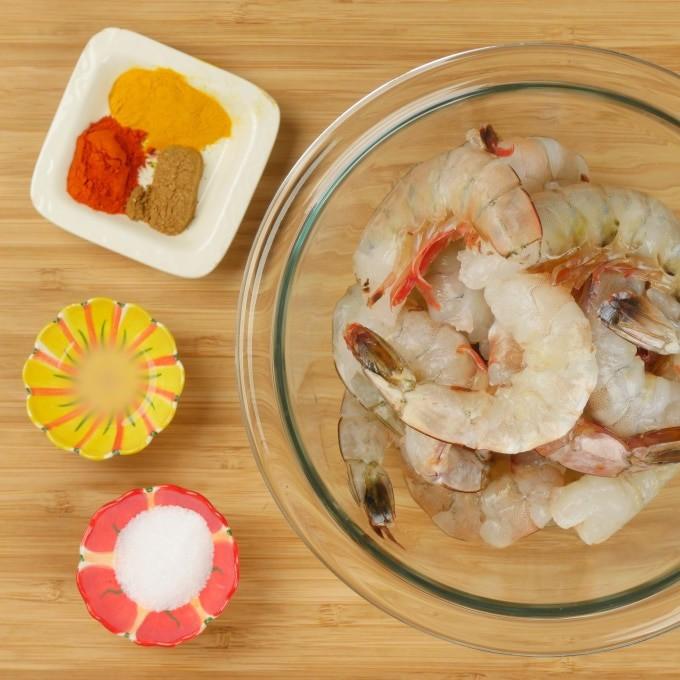 Instant Pot Shrimp Biryani (Kerala-Style) Ingredients gathered to marinate the shrimp.