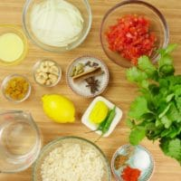 Instant Pot Shrimp Biryani (Kerala-Style) Ingredients gathered to make the sauce and rice.