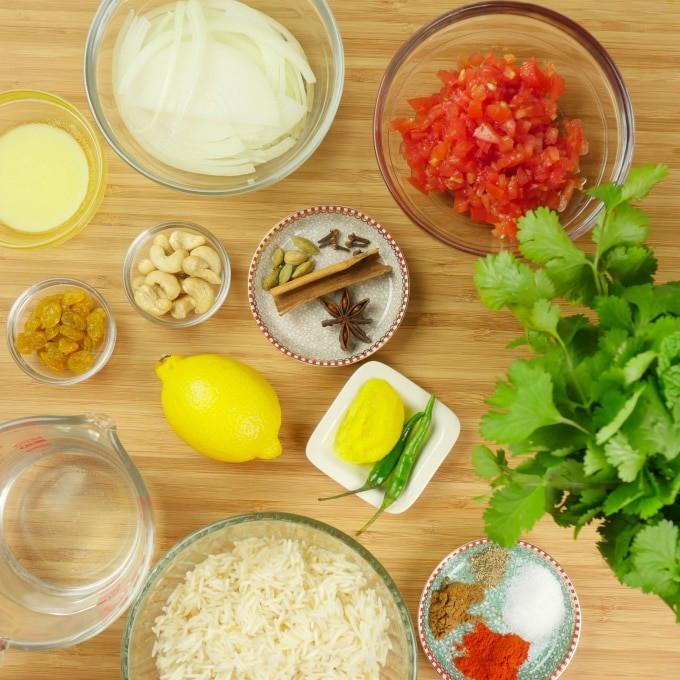 Instant Pot Shrimp Biryani (Kerala-Style) Ingredients gathered to make the sauce and rice.