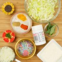 Cabbage Stir-Fry (Kerala Thoran) All ingredients gathered.