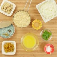 Simple Ghee Rice (Nei Choru) - All the ingredients gathered.