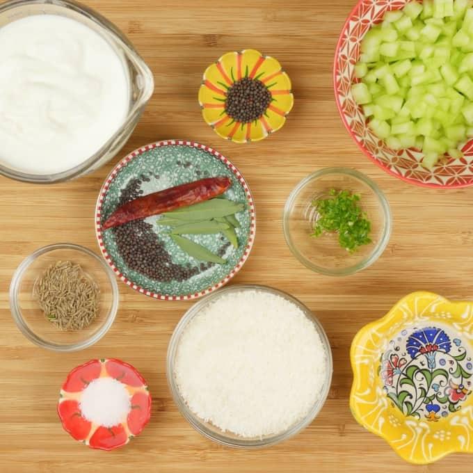 Cucumber Raita (Kerala Pachadi) All ingredients gathered.