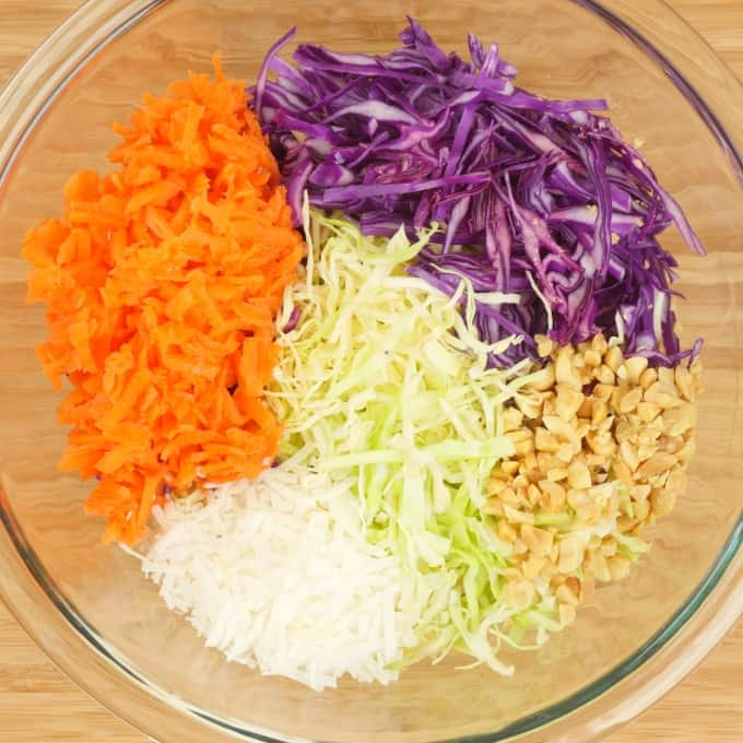Indian-ish Coconut Cabbage Salad Vegetables slices and grated, ready for mixing together.