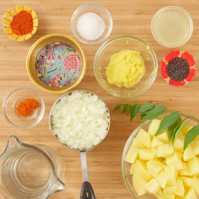 Aloo Masala (Kerala-Style) Ingredients gathered for cooking.