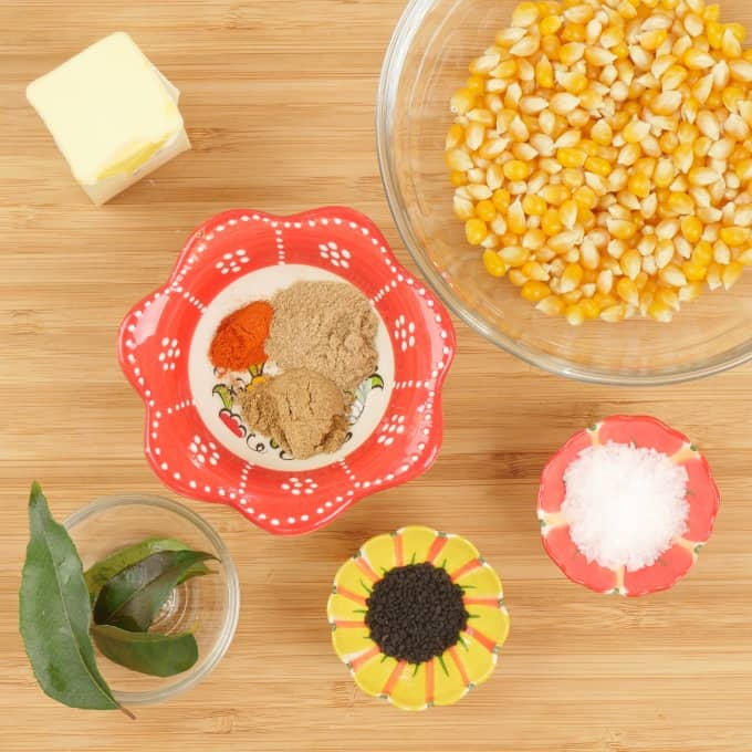 Easy Microwave Curry Popcorn Ingredients gathered.