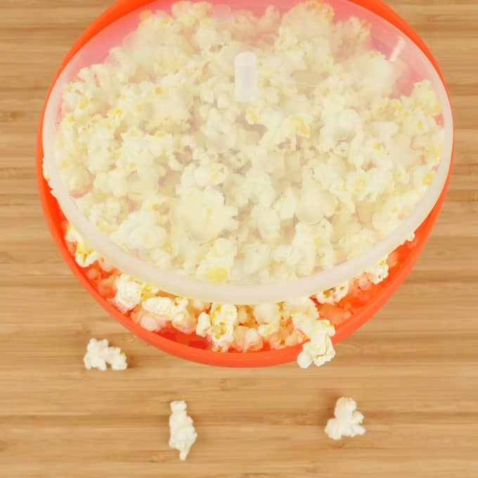 Easy Microwave Curry Popcorn Finished popping and ready to be spiced up.