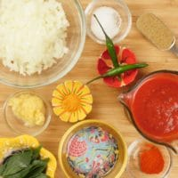 Kerala Chicken Curry - The sauce ingredients are gathered.