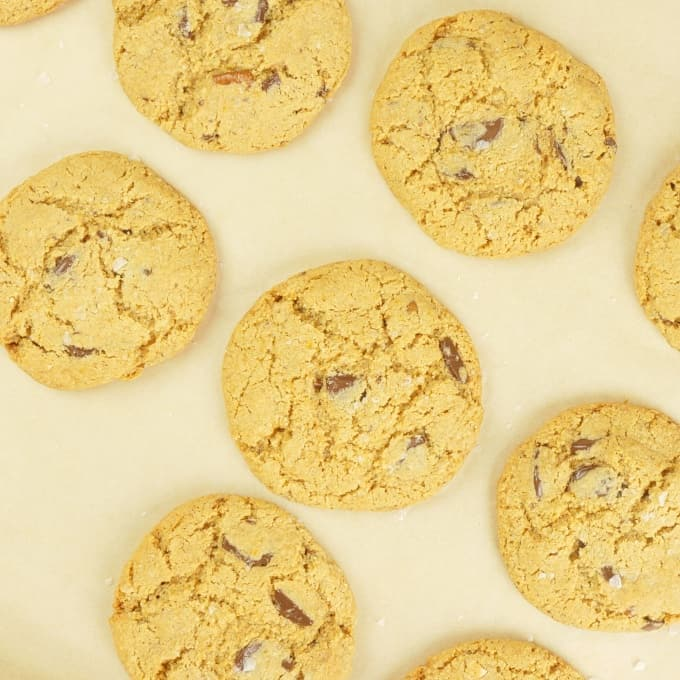 Almond Flour Chocolate Chip Cookies Fresh out of the oven and ready for a glass of cold milk.