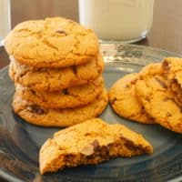 Almond Flour Chocolate Chip Cookies Served on a plate with a cold glass of milk.; the perfect snack.