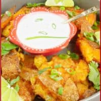 Roasted Smashed Potatoes Served with a simple raita and wedges of lime.