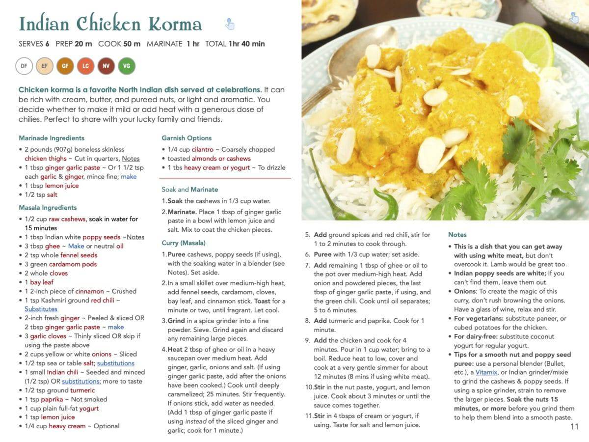 Indian Chicken Korma Recipe from The 20 Favorite Dishes in India e-book