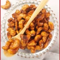 Sweet and Spicy Nuts—Indian-Style Served up in clear glass bowl with beaded rim. Looking all crunchy and spicey.
