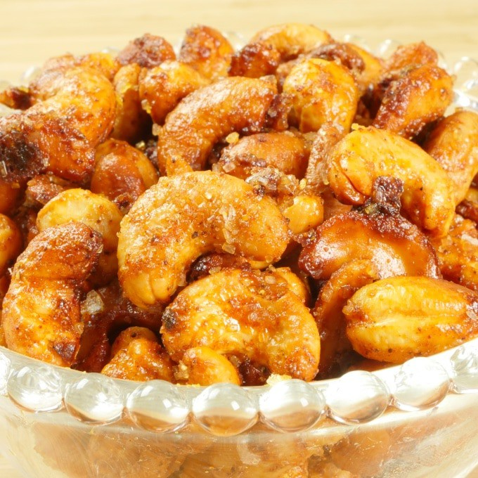 Sweet and Spicy Nuts—Indian-Style Served up in clear glass bowl with beaded rim. Looking all crunchy and spicy.