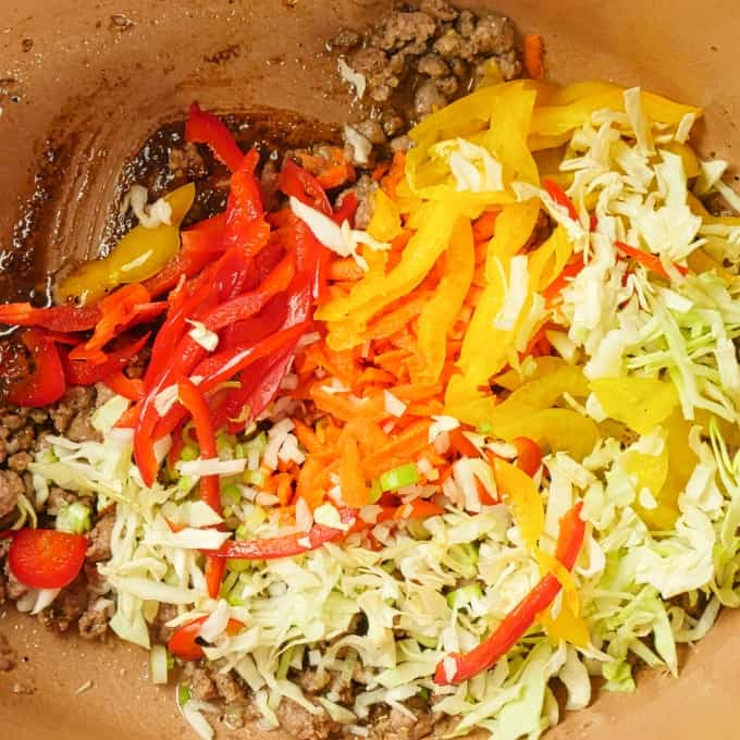 Cumin Lamb Indo-Chinese Noodles - Cooked lamb and spices with the vegetables joining the party.