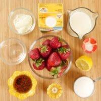 Roasted Strawberry Ice Cream (No Churn) Ingredients gathered.
