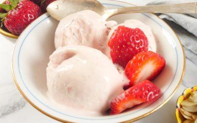 Roasted Strawberry Ice Cream (No Churn)