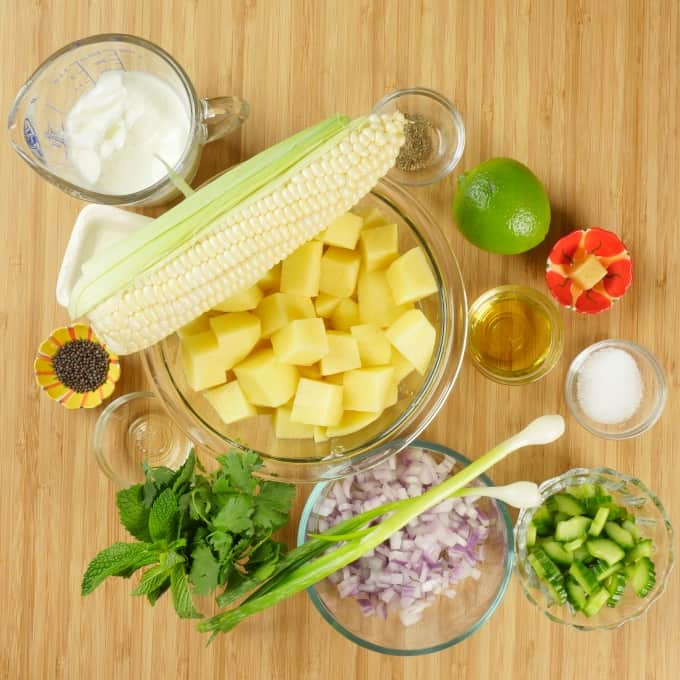 Indian-ish Yogurt Potato Salad - Ingredients gathered ready for mixing.
