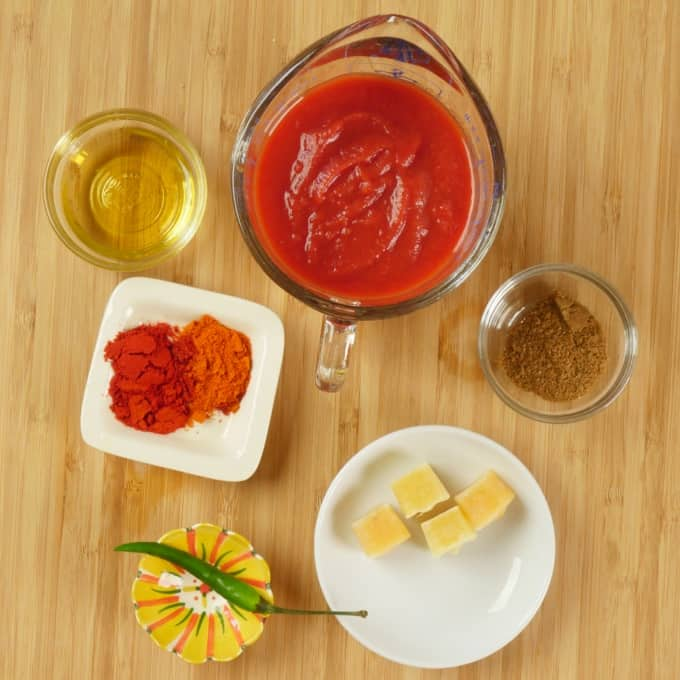 Indian Turkey Sloppy Joes - The sauce ingredients are gathered.