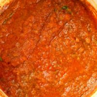 Tomato and onions cooked into a thick sauce.