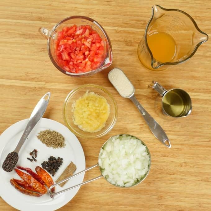 Prawn Curry (Balchao) Sauce ingredients gathered.