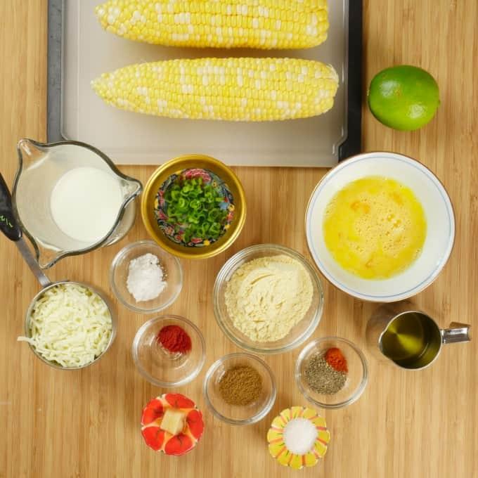 Sweet Corn Cakes - Ingredients gathered.