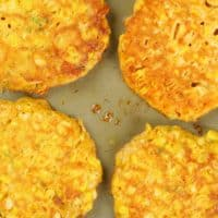 Sweet Corn Cakes - Finished sauteeing and ready to be served.