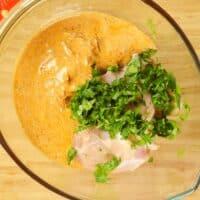 Goan Chicken Biryani - Chicken about to go under a blanked of yogurt and spices.
