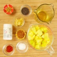 Instant Mango Pickle (miskut) - Ingredients gathered.
