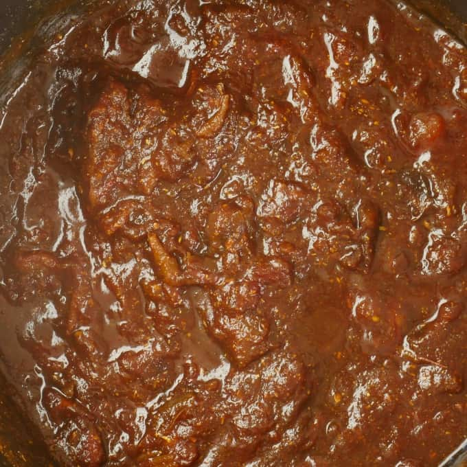 Tangy Tamarind Date Chutney ~ Dates, tamarind and jaggery cooked until soft and ready for the food processor.