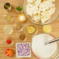Easy Curried Cauliflower Soup ~ Ingredients gathered and ready to cook.