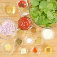 Comforting Chicken Saag Recipe ~ Sauce ingredients gathered.
