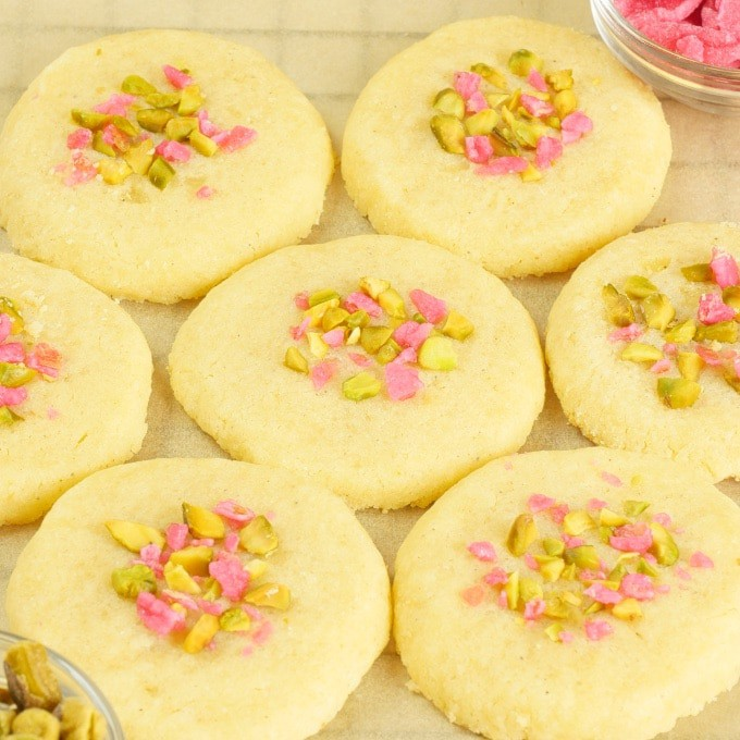 Cardamom Cookies ~ Displayed side by side with a little bowl of candied rose petals.
