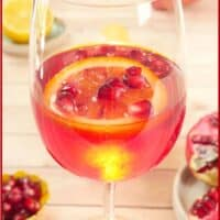 Served in a long-stemmed wine glass with pomegraniate arils and a blood orange slice.