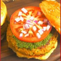 Indian-Spiced Kabab Recipe ~ Served burger sized in a soft fluffy bun smeared with green chutney, topped with a slice of tomato and chopped red onion.