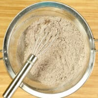 Dry ingredients whisked through a sieve.