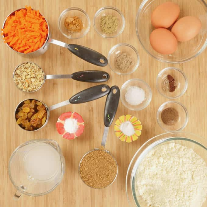 All ingredients gathered and ready to be cooked.