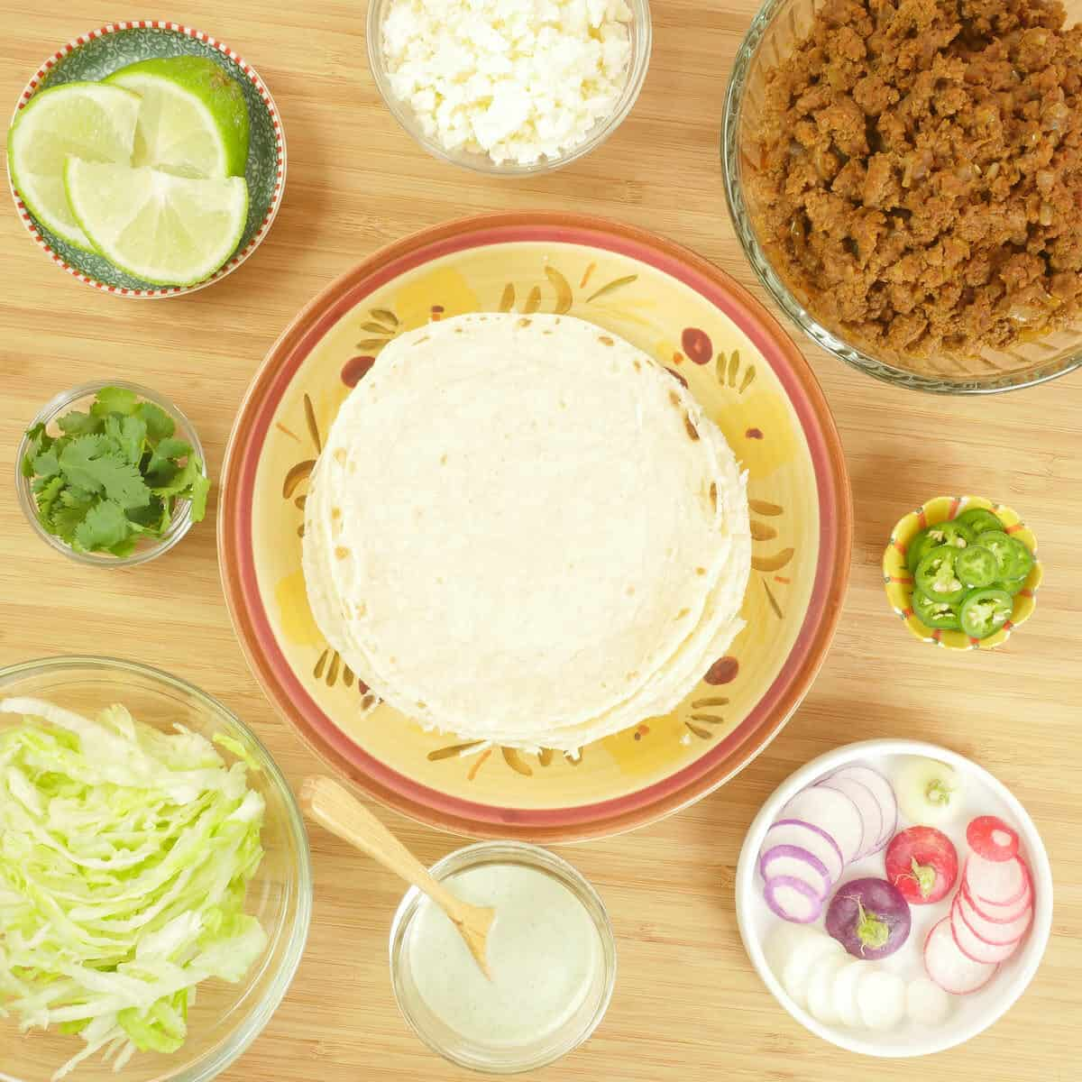 Taco Filling Ideas - Indianish Ingredients gathered and ready to be tacco'd.