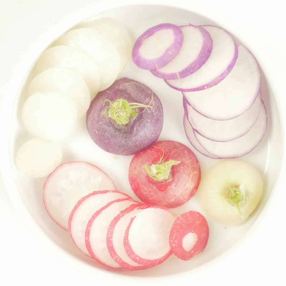 Taco Filling Ideas - Indianish - Three colors of radishes sliced to topping.
