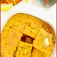 Spicy Cornbread with Corn ~ Cornbread baked in a square pan and the pieces cut to show the moist tender crumb.