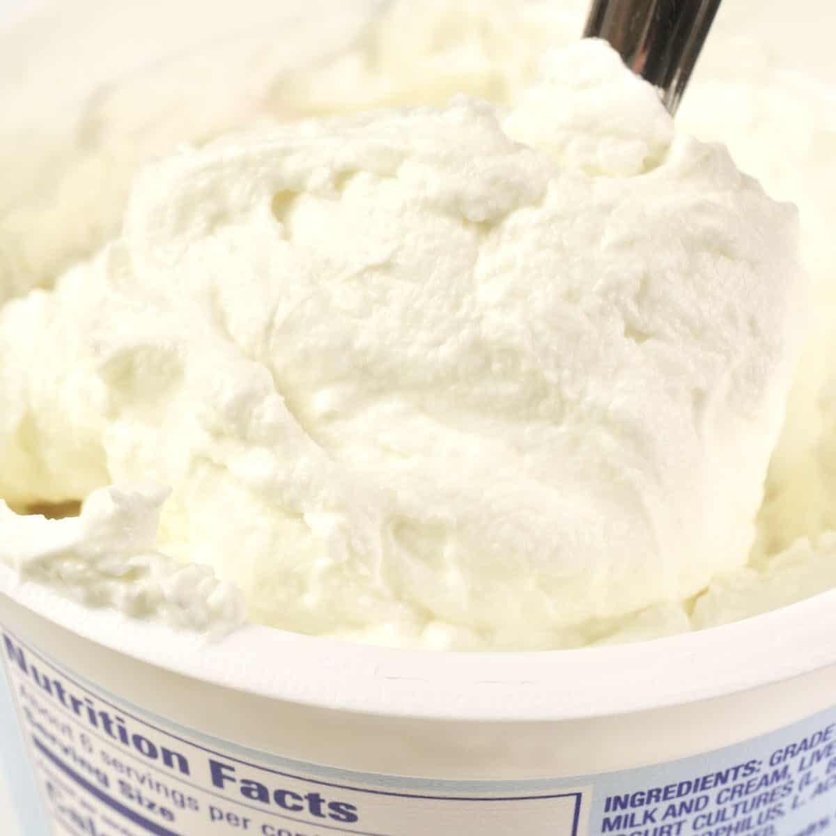 A spoonful of thick Greek yogurt.