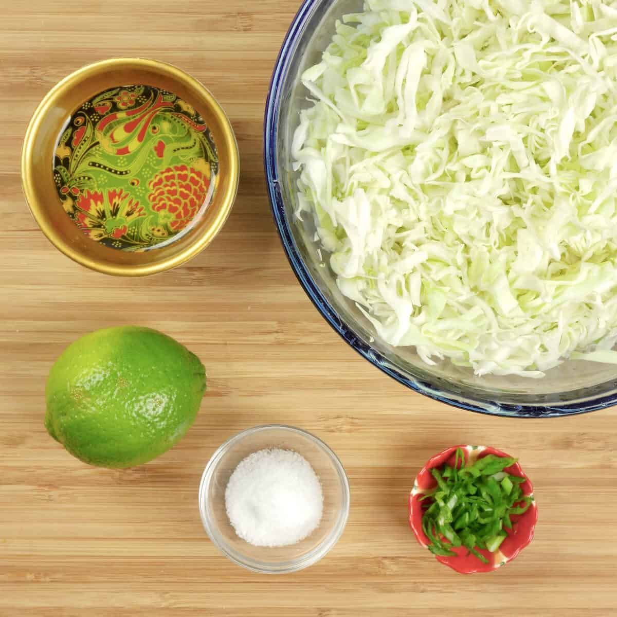 The quick cabbage slaw ingredients gathered and ready for mixing.