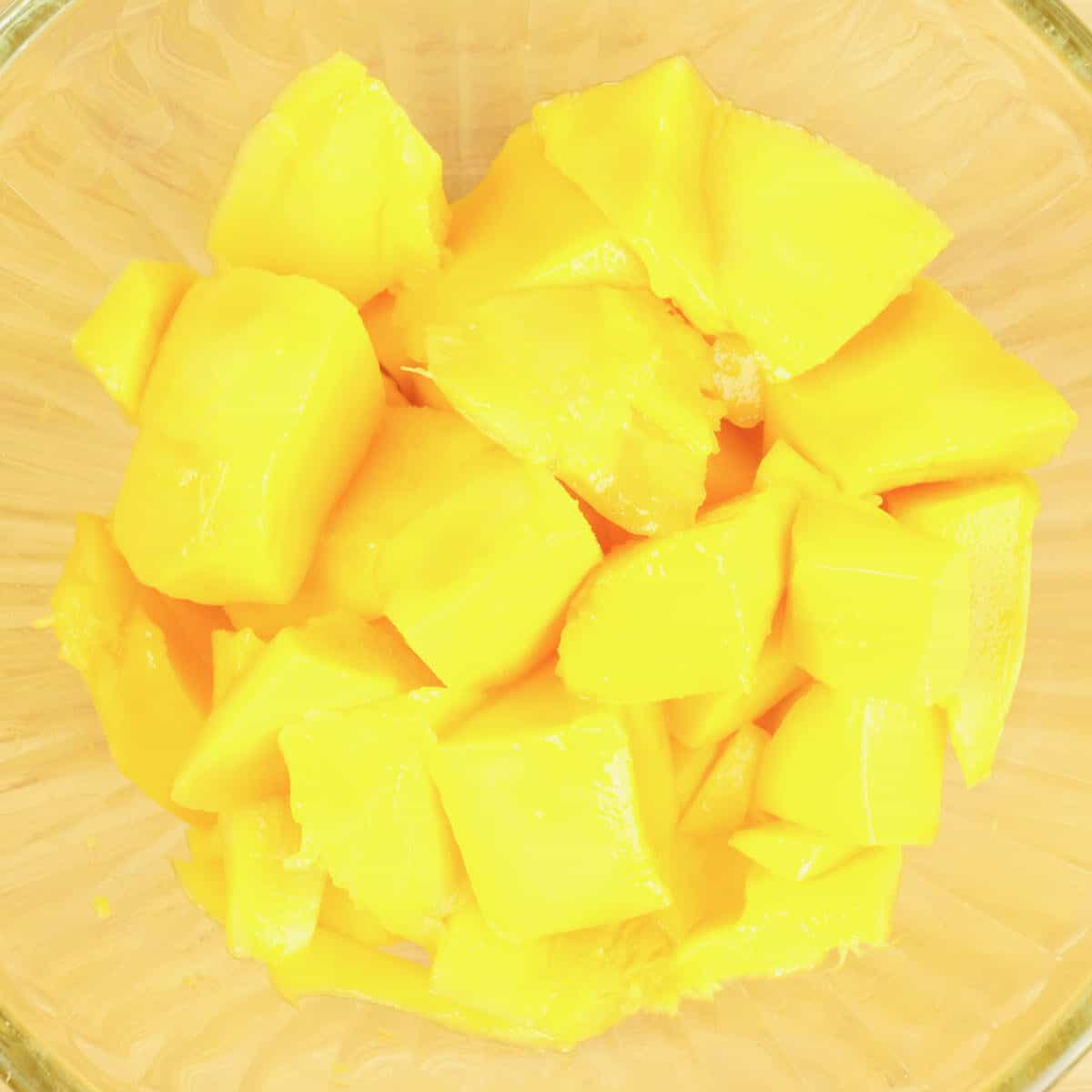2 mangoes cut into chunks and ready for steeping.